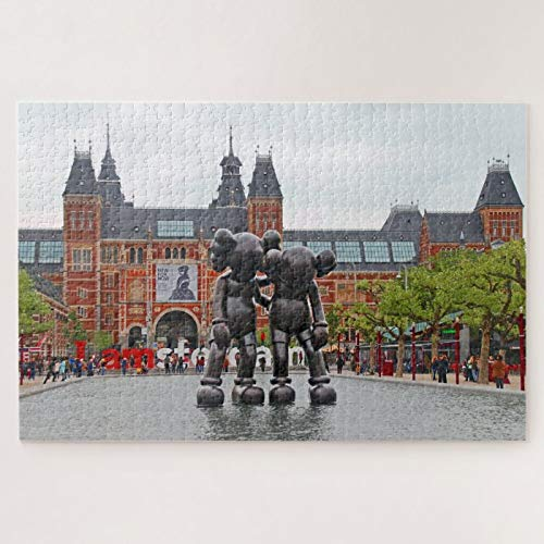 Wooden Jigsaw Puzzle 500 Piece for Adults, I Love Amsterdam Jigsaw Puzzle ame Toys ift Jigsaw Puzzle