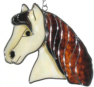 Horse Head Suncatcher Ornament in Real Stained Glass