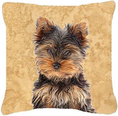 Caroline's Treasures KJ1230PW1818 Yorkie Puppy/Yorkshire Terrier Canvas Fabric Decorative Pillow, 18H x18W, Multicolor