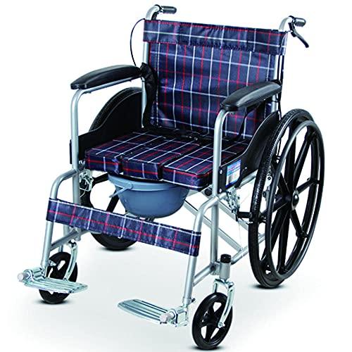 Silla de ruedas autopropulsada plegable de aluminio ligero de diseño compacto MMYNL, andador manual, silla de viaje de transporte cómoda y resistente, reposapiés portátil y desmontable,-Azul ✅