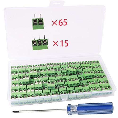 RUNCCI-YUN 80 Piezas 5mm 2 Pines/3 Pinesconector pcb 300 v 10a (2PIN-65 Piezas, 3PIN-15 Piezas)