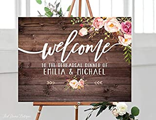 Rustic Rehearsal Dinner Welcome Sign, Rehearsal Wedding Sign, Welcome Wedding Poster, Horizontal, Landscape Sign, Blush Pink
