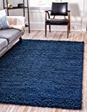 Unique Loom Solo Solid Shag Collection Modern Plush Navy Blue Area Rug (7' 0 x 10' 0)