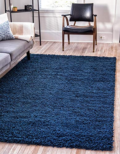 Unique Loom Solo Solid Shag Collection Modern Plush Navy Blue Rectangle (4' x 6')