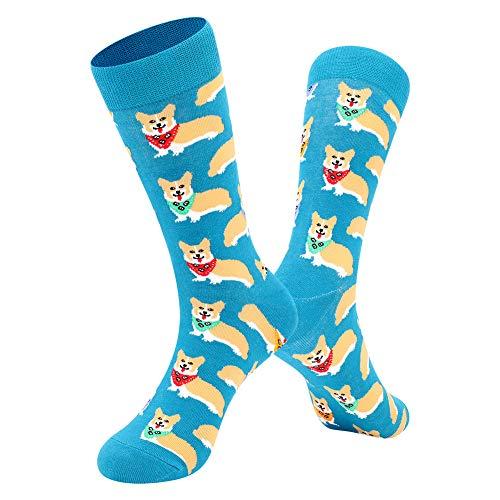 BONANGEL Herren Lustige Bunte Socken,Herren witzige Strümpfe, Fun Gemusterte Muster Socken, Verrückte Socken Modische Mehrfarbig Klassisch als Geschenk, Neuheit Sneaker Crew Socken (1 Pair-Corgi)
