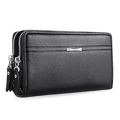WIN Mens Leather Wallet,Zip Clutch Long Wallet Purse Credit Card Holder, Black, 20x11.5x4.5cm