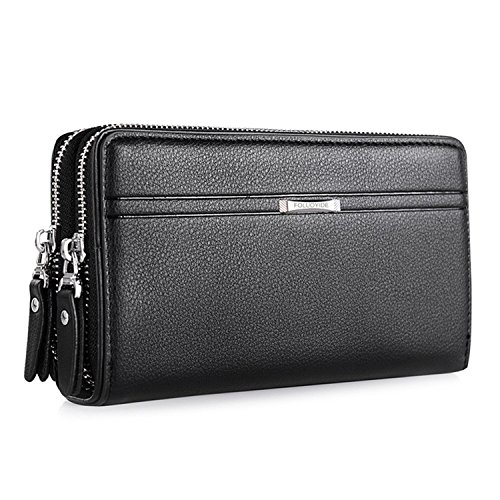 WIN Mens Leather Wallet,Zip Clutch Long Wallet Purse Credit Card Holder (Black)