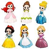 BESTZY Princesa Cake Topper Mini Juego de Figuras Decoración para Tartas Fiestas de Cumpleaños Cute Disney Princesa Figure Pastel Decoración Suministros 6 pcs