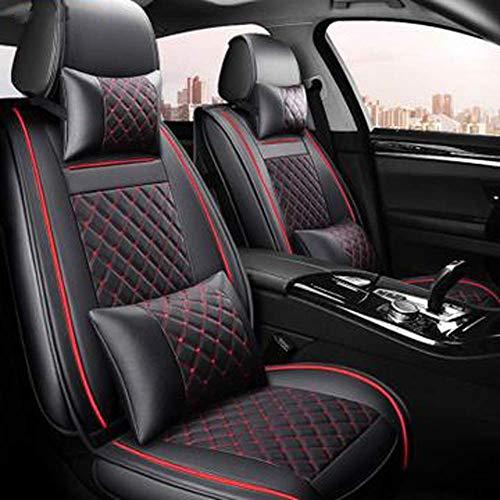 Autositzbezüge (vorne + hinten) Autositzbezug aus Leder 4 Saison für Nissan Note Juke Qashqai J10 Almera N16 X-Trail T31 Navy D40 Style, Rot (Farbe: Rot)