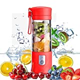 Beckool's Red Portable Blender with fruit inside
