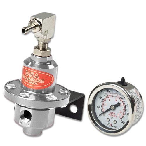 Universal 160 PSI Adjustable Silver Chrome Fuel Pressure Regulator & Oil Gauge Kit