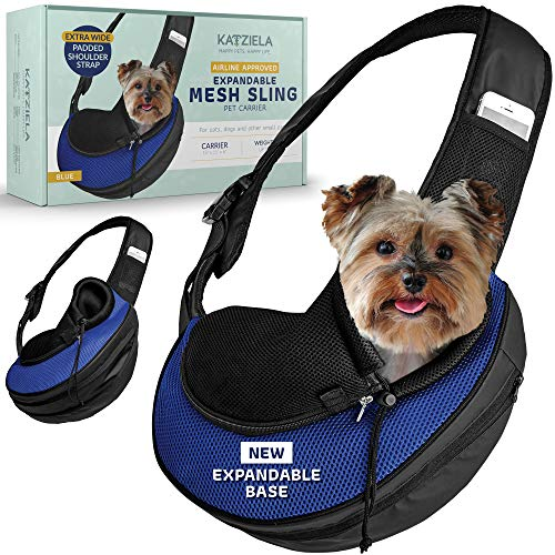 Katziela Pet Carrier Sling Bag - Small Dog, Puppy and Cat Carrier Front Shoulder Backpack w/Harness Strap - Carrying Pouch for ESA, Airline Approved Animal Travel - PU Leather Bottom, Mesh Pocket