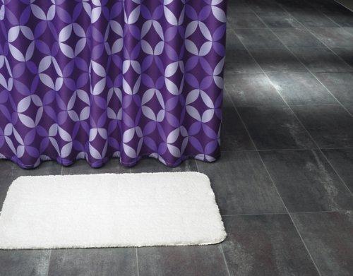 Douchegordijn textiel ~ Motief: diamant/diamanten ~ Kleur: lila ~ Afmetingen: 180 x 200 cm ~ 100% polyester ~ met 12 ogen ~ zonder doucheringen