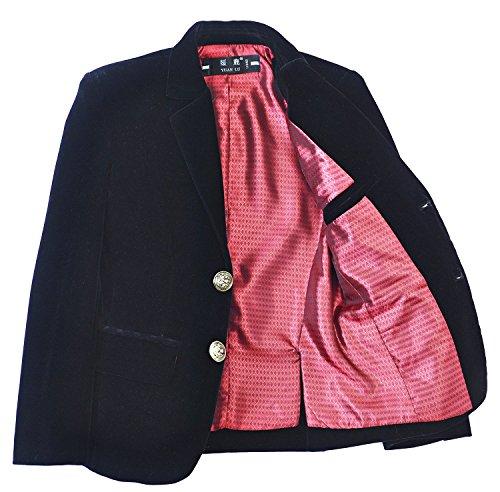 YuanLu Boys Single-Breasted Velvet Black Blazer Size 3T