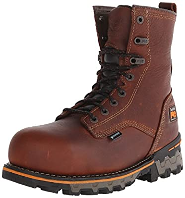 Timberland PRO Men's 8 Inch Boondock Composite Toe Waterproof Work and Hunt Boot, Brown Tumbled Leather, 9 W US