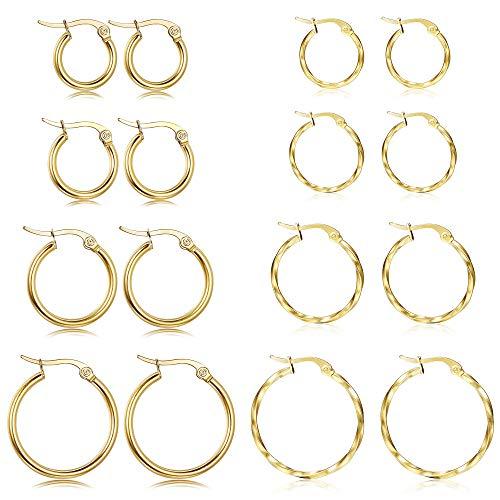 LOYALLOOK 8Pairs Stainless Steel Hoop Earrings Set Gold Silver Round Small Hoop Earrings 10MM、12MM、15MM、20MM
