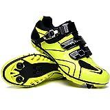 Zapatillas de Bicicleta MTB Pro para Hombre,Zapatillas de Bicicleta de Montaña SPD Zapatillas de Bicicleta de Carretera Zapatillas de Ciclismo Al Aire Libre Transpirables,Yellow-EU46