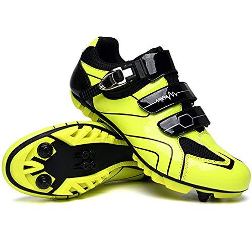 Zapatillas de Bicicleta MTB Pro para Hombre,Zapatillas de Bicicleta de Montaña SPD Zapatillas de Bicicleta de Carretera Zapatillas de Ciclismo Al Aire Libre Transpirables,Yellow-EU36