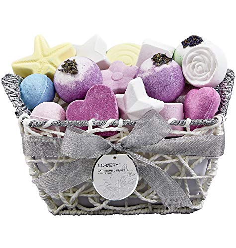 Bath Bombs Gift Set for Women – 17 Large Bath Fizzies in Assorted Colors, Shapes & Scents – Bath and Body Spa Set with Shea & Coco Butter – Ultra Rich Spa Set in Handmade Weaved Basket
