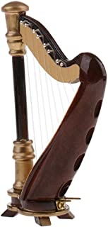 NATFUR Dolls House Ornament Instrument Brown 8-Strings Harp with Box 14cm