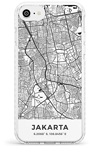 Karte Von Jakarta, Indonesien Impact Handykette Hülle für iPhone 7 Plus, for iPhone 8 Plus | Schutz Dual Layer Bumper TPU Silikon Hülle Muster Printed | Reise Fernweh Europa Stadt Streets