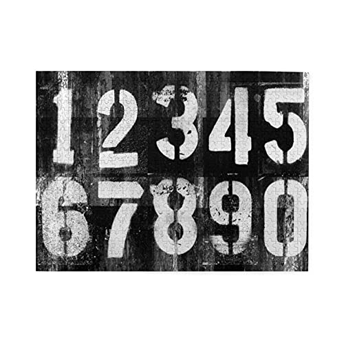 Rompecabezas de 500 piezas,diseño de números futuristas de grunge abstracto en una superficie vieja y sucia,como telón de fondo de Cyber Punk,juego de rompecabezas familiar grande, para adultos