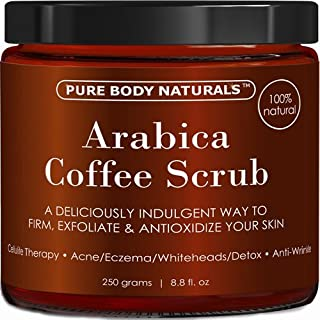 Arabica Coffee Body Scrub Exfoliator with Coconut and Shea Butter for Cellulite and Stretch Marks, Coffee Scrub for Eczema, Stretch-marks, and Cellulite by Pure Body Naturals, 8.8 Ounce