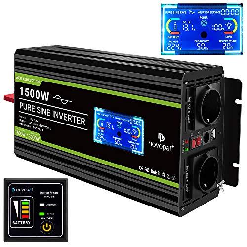 NOVOPAL Convertisseur Pur Sinus 1500W- transformateur 12V 220V 230V avec télécommande et Dual AC Prises et écran LCD,pour Voiture, Caravane, Bateau, Camping, Voyage