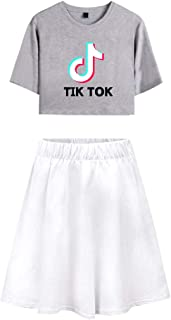 OHYOUNG TIK Tok Tracksuit Two Piece Women Crop Top and Skirt Set C00605TXDQ