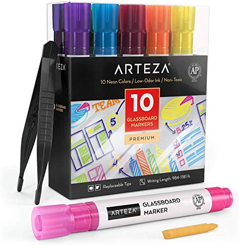 Arteza Glass Board Dry Erase Markers Pack of 10 Bright Neon Colors with Low-Odor Ink, Erasable Window Markers, Office Supplies for Glass, Mirrors, Whiteboards and Non-Porous Surfaces