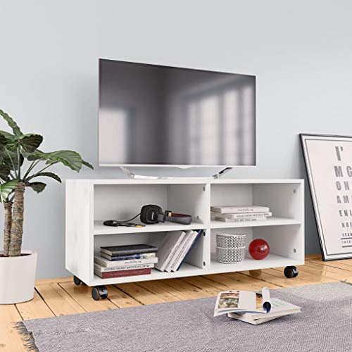 Festnight Mesa de Televisión Mueble para TV con Ruedas Aglomerado con 4 Compartimentos Abiertos 90x35x35 cm