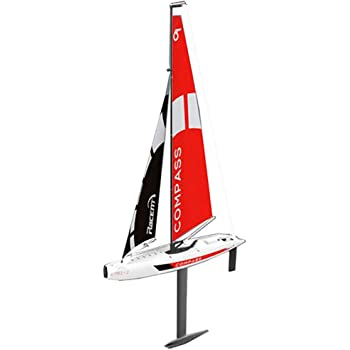 ElevenY Remote Control Sailboat 65CM 2.4G Radio 4CH RC Boat Compass Pre-Assembled Sailboat Without Battery DIY Wireless Remote Control Toy for Kids Adults Hobby Toys Xmas Gift