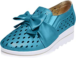 Wedge Sneakers for Women,Fashion Cutout Slip-On Faux Leather Platform Comfort Casual Shoes with Bowknot