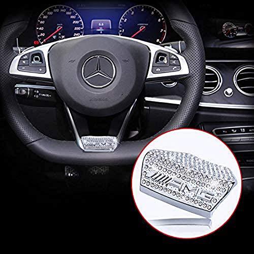 L&U AMG Kristall-Lenkrad-Emblem-Abziehbild-Aufkleber-Abzeichen Dekoration Logo für Mercedes-Benz 16 Modelle 17 Modelle E200L E300L neuen E-Klasse,Crystal Silver