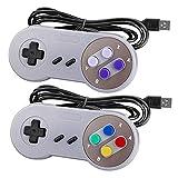 Controlador USB SNES Laelr Paquete de 2 Controladores de gamepad retro SNES con cable para Super Nintendo con cables de...