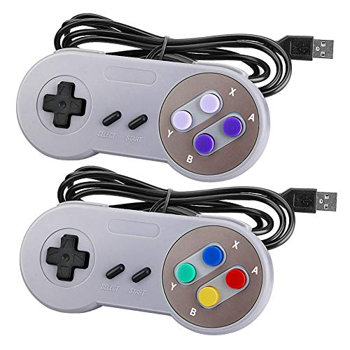 Laelr SNES USB Controller 2 Pack Wired Retro SNES Gamepad Controllers for Super Nintendo With 5ft USB Extension Cables Joypad Controllers for Windows Laptop PC Mac and Raspberry Pi System