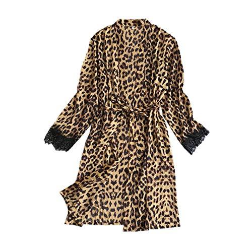Eternali Leopard Sexy Damen Robe Morgenmantel Kurz Kimono Leopardmuster Frauen Satin Bademantel Pyjamas Spitze Cardigan Nachtwäsche Leopardenmuster Damen Reizwäsche Damen Party Pajama