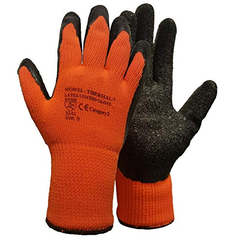 6 Pairs Thermal Gloves Winter Gloves Latex Rubber Gloves Work Gloves Builders Gardening (Large)