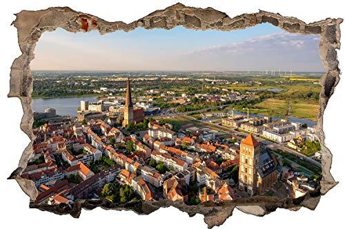 City Skyline Rostock Altstadt Wandtattoo Wandsticker Wandaufkleber D1476 Größe 70 cm x 110 cm