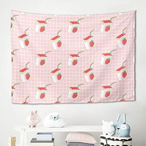 Gamoii Tapiz de pared con diseño de fresas y frutas, color rosa, para picnic, playa, esterilla de yoga, cómoda para habitación de los niños, colcha blanca, 200 x 150 cm