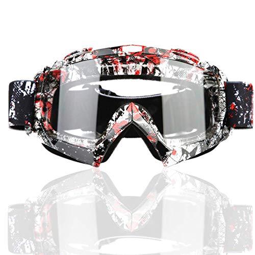 Reminnbor Traje de Motocross,Gafas de moto Motocross Dirt Bike para motociclismo Ciclismo Esquí(P932 Lente transparente)