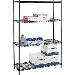Lorell Starter Shelving Unit, 4 Shelves4 Posts, 36 by 24 by 72-Inch, Black