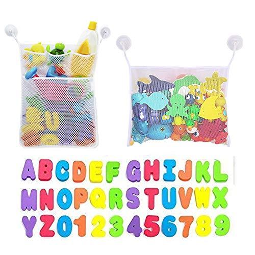 Junxave 2 Bad Spielzeug Organizer, Bad Aufbewahrungstasche Netz Badewanne Spielzeugnetz mit 36 Badespielzeug Buchstaben Zahlen für Kleinkinder,6 Ultra Starke Saughaken