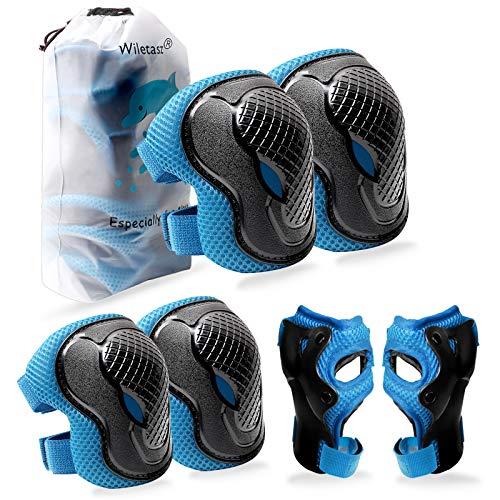 Kinder Schutzkleidung Schonersets, 6 in 1 M für 5-12 Jahre Kinder Knieschoner und Ellenbogenschoner & Verstellbarer Riemen zum Radfahren Inline-Skates Rollschuhe Skateboarding Scooter BMX (Blau)