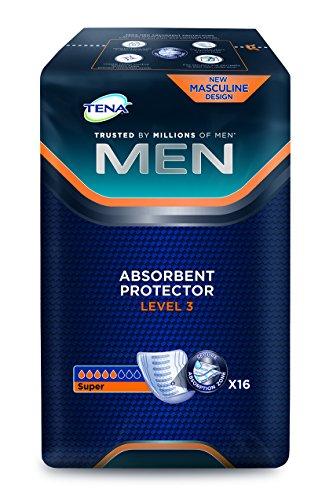 """Tena Men\""""Level 3\"""", 16 Stück, Einlagen, Blasenschwäche, saugfähig, Inkontinenz, Slipeinlage, Seniorenhilfe, Inkontinenzeinlage, weiß, Saugleistung: 710 ml"""