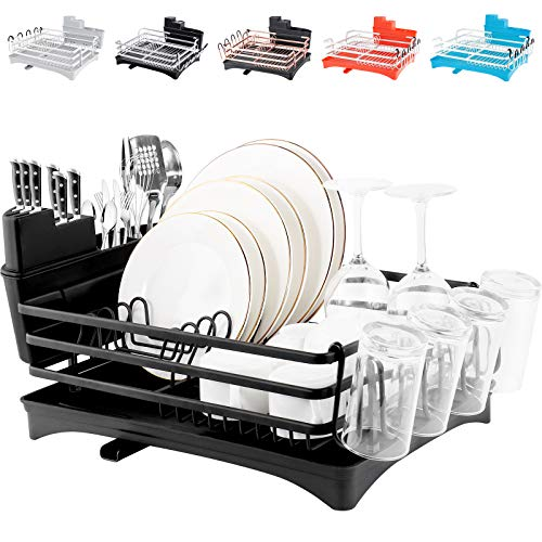 """ROTTOGOON Aluminum Dish Drying Rack, 16.5"""" x 11.8"""" Compact Rustproof Dish Rack and Drainboard Set, Dish Drainer with Adjustable Swivel Spout, Removable Cutlery and Cup Holder, Black"""