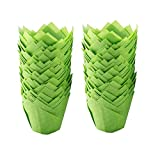 Baking Cups 100-Count Muffin Cups Standard Tulip Muffin Cupcake Natural Cupcake Paper Liners for Wedding Birthday Christmas Party Baby Shower Anniversaries All Festivals (Green)