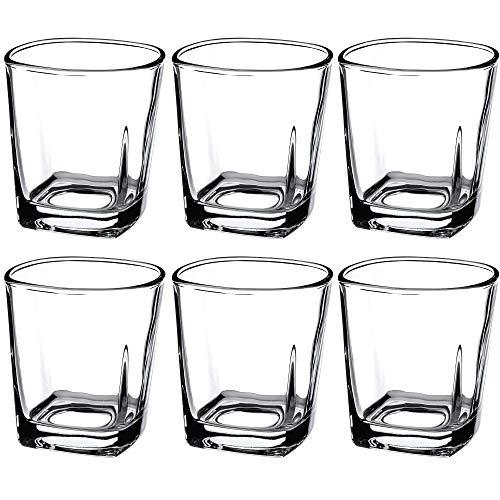 KADAX Juego de 6 vasos de zumo, vasos de agua resistentes, vasos universales de cristal, vasos para agua, bebidas, casa, fiesta, jardín, cóctel (Romi, 250 ml)