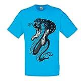 lepni.me T-Shirt pour Hommes Serpent électrique Cobra, Amateur de Rock and Roll (XX-Large Bleu Multicolore)