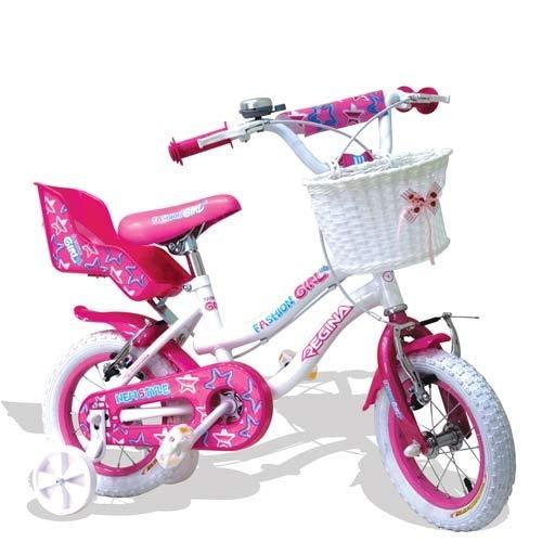 Pidema Bici Bambina Regina Fashion Girl 16 Pollici. Biciclette Bambine Bianca o Fucsia con rotelle e Cestino.